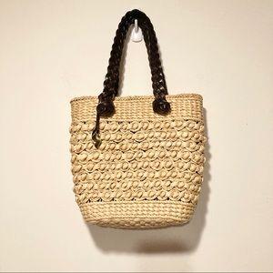 Dana Buchman Raffia Mini tote bag leather straps